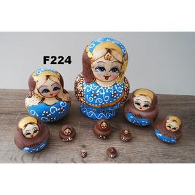 Bonecas Russas Matrioska F224 10 Peças 15,5-16,5cm Mamuska