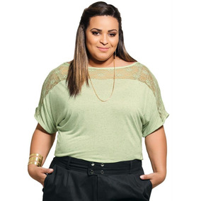 Blusa Com Renda Verde Plus Size