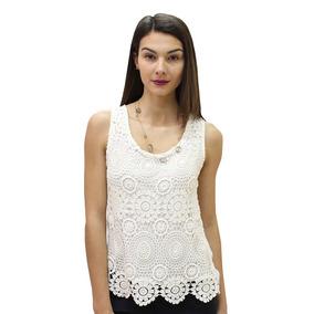 Blusa Dama Mujer Casual Delantero En Crochete Color Ivory