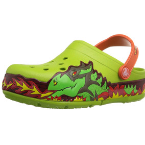 Crocs Niños Modelo Crocslights Dragón Lanza Llama Talla Usc7
