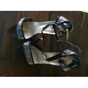 Zapatos Taco Alto De Fiesta Negro Y Plateado Rebajados 53667dd46e8