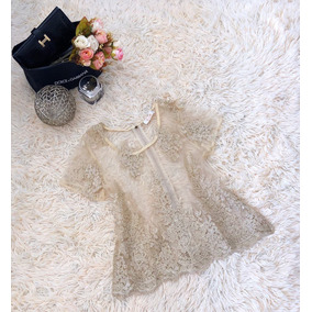Blusa Feminina Tule Transparente Bordado Floral Importado