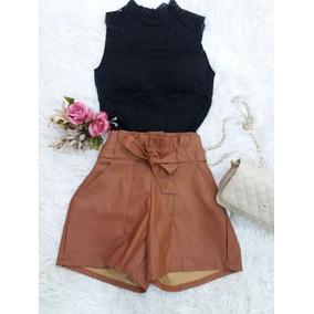 Shorts Feminino Clochard Couro Eco