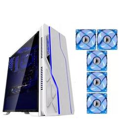 Kit Gabinete Gamer Bg-009 Branco Bluecase + 5 Cooler Azul