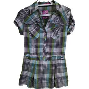 Bluson Blusa Camisa Cuadros Para Dama Color Verde Con Gris
