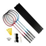 Kit Badminton Importado 4 Raquetes 2 Petecas Rede E Bolsa