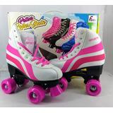 Patins 4 Rodas Clássico Branco/rosa 34/35 Ajustável Roller
