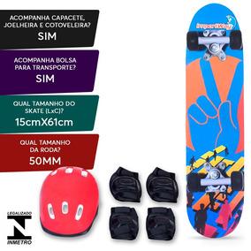 Kit Skate Infantil 24´´ Completo Masculino Feminino Capacete