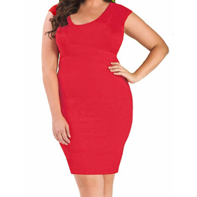 Curvilineas Vestido Rojo Con Faja Integrada Tallas Extras