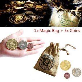 Kit 3 Moedas Gringotes Bank Harry Potter + Bolsa Mágica