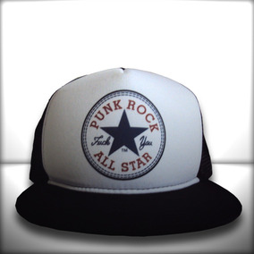 Boné Punk Rock All Star Trucker Snapback Aba Reta Preto b625d447688