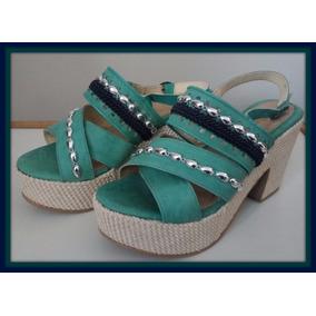 Sandalias Con Plataforma - Verdes - Nº 38 - Eco Cuero