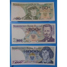 Cédula Bank Polski 50, 200, 1000 Zlotych Polônia 1982/88 Fe