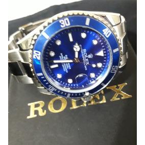 Relógio Masculino Rolex Submariner - Prata/ Fundo Azul