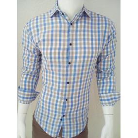 Camisa Para Caballero De Cuadros Color Azul Cielo
