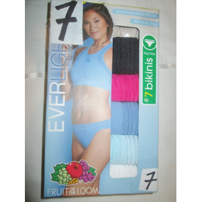 Pantaletas Bikini Nylon De Colores Talla 7 (32/34) Fruit Of