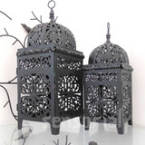Conj Lanterna Marroquina Decorativa Preta Porta Velas + Vela