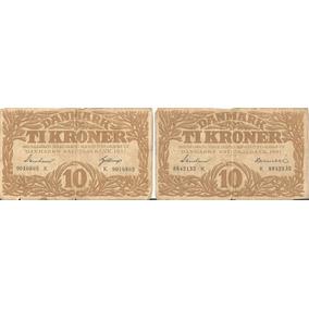 Raridade 2 Cédulas Da Dinamarca De 1937
