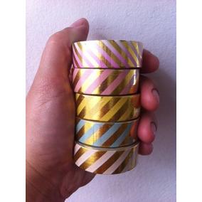 Washi Tape Dourada Metalizada Listras Golden Foil