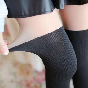 Medias Calceta Over Knee Japonsa Panty Negro Bicolor Piel 2