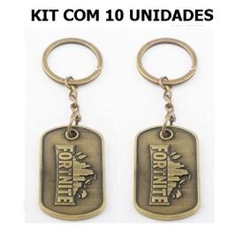 Kit Com 10 Chaveiros Fortnite Dog Tag Bronze Original