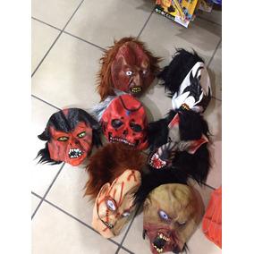 16 Pz Mascara Halloween Latex Con Cabello