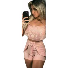 Roupas Femininas Conjunto Cropped E Short Curto Festa Renda