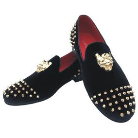 Picos Oro Vestido Zapatos Mocasines De Terciopelo Negro De