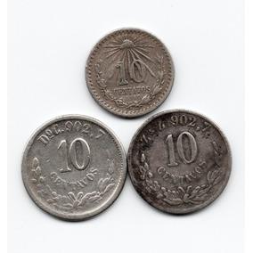 3.- Antiguas Monedas 10 Centavos 1887 Do, 1900 Zs 1919