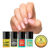 Kit Sos Unhas Top Beauty Com 4 Bases E 1 Cerinha
