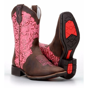 7f119695d8e7b Bota Texana Country Feminina Bico Quadrado Couro Rodeio Top