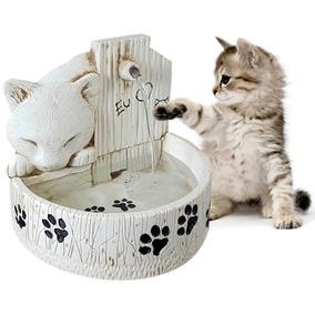 Fonte De Água Para Gato Bebedouro Para Gato Em Resina Branca