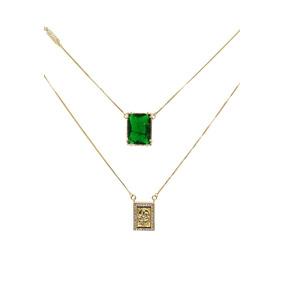 Escapulario Pedra Fusion Verde Esmeralda