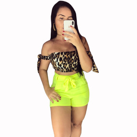 Conjunto Short Neon E Cropped Onça Modinha 2019 Animal Print