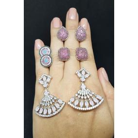 Brinco Feminino Cristal Zirconia Moda Prata 925 Promoção