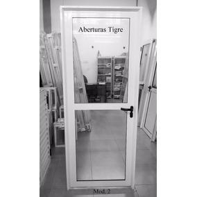 Puerta Aluminio Blanco 80x200 Vidrio Entero Con Travesaño