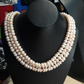 Collar De Perlas De Río Rosa Y Chapa De Oro De 14 Kilates.