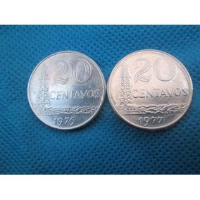 2 Moedas Do Brasil 20 Centavos 1975 + 1977 Inox Veja