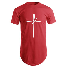Camisa Long Line Camiseta Oversized Masculina Carta Fé Moda