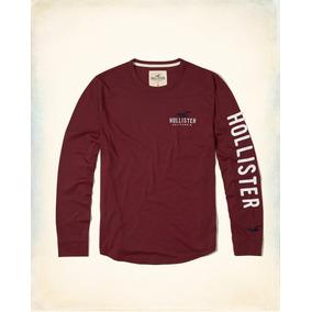 Hollister Camiseta Cuello Redondo Color Vino Print