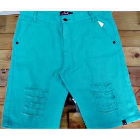Bermuda Jeans Sarja Masculina Rasgada Destroyed Premium