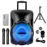 Parlante Trollet Carrito Portable Bluetooth + Tripode Y Mics