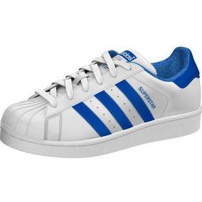 6b6963aa643 Tenis Adidas Superstar Blanco Con Azul - Tenis en Mercado Libre México