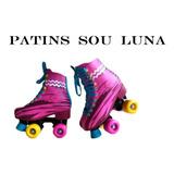Patins Sou Luna Luz Led Nas Rodas + Kit Proteção De 34 A 40