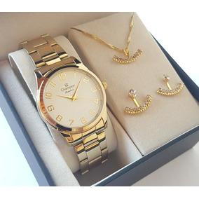 Relógio Champion Feminino Dourado Kit Colar Brincos Cn29883j