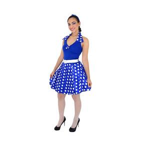 Fantasia Anos 60 Vestido Azul Adulto