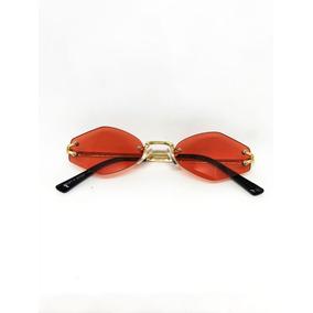 64bac0b002661 Oculos Oval Fino De Sol Pequeno Lente Vermelha Estiloso