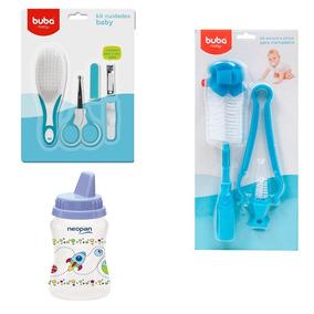 Kit Higiene E Alimentação Baby Menino 03 Peças Buba Azul