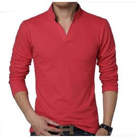 Camisa Polo Manga Longa Slim Fit Toka Algodão Vermelho