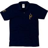 Camisa Camiseta Palmeiras Azul Marinho Masculino Dourado.